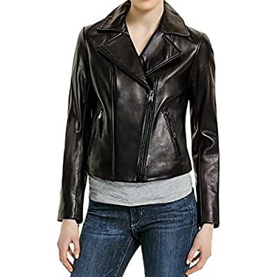 Michael Kors Motorcycle Leather Jacket-Black-L