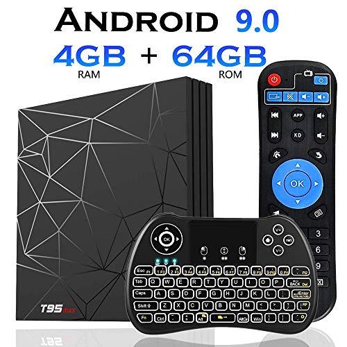 Android TV Box, T95 MAX TV Box 4GB RAM/64GB ROM Android 9.0 Allwinner H6 Quad Core Arm Cortex-A53 Soporte 2.4GHz WiFi H.265 6K HDMI DLNA Reproductor Multimedia con Mini Teclado Inalámbrico