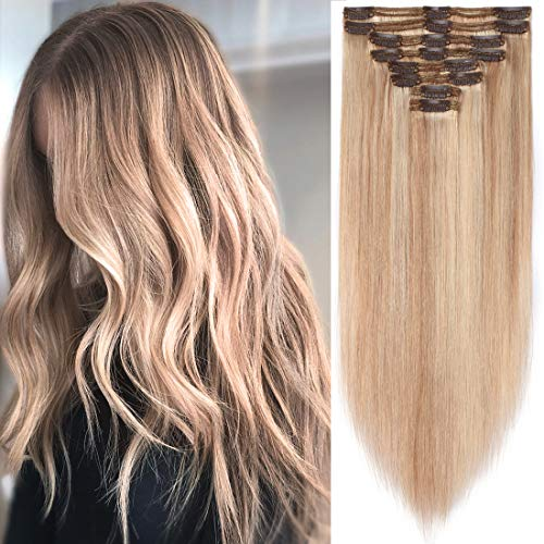 S-noilite Balayage Clip in Human Hair Extensions Thick True Double Weft Clip in Human Hair Full Head 8 Pieces 18 Clips Straight (14 Inch - 120g,Ash Blonde/Bleach Blonde (#18/613))