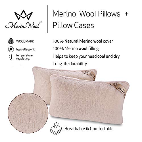 2 Juego de 2 almohadas de Lana Merino-- Funda de Lana Pura Lana x 100% Lana Merino, WOOLMARKED PILLOWS TWO Cojín 45 x 75 cm