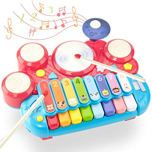 CubicFun 5 in 1 Baby Musical Instruments Toddler Toys for 1 Year Old Girls, Multi-Function Piano Drum Set Early Development & Activity Toys Baby Toys for 12 Months 2 3 4 5 6 Year Old Girls Boys Gifts