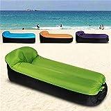 JONJUMP Taburete de camping tamaño compacto para viajes al aire libre taburete inflable sofá portátil puf silla con almohada verde