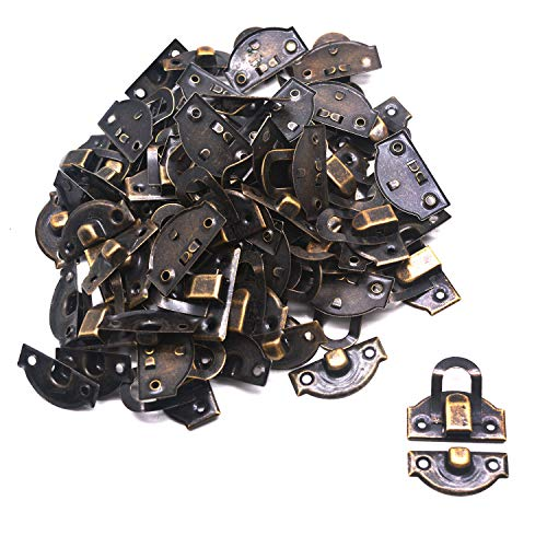 Tulead Iron Vintage Latch Toggle Latch Toolbox Bronze Latch Box Hasp Catch Case Trunk Latches 1.06'x1.14' Suitcase Lock Latch Pack of 40 with Mounting Screws