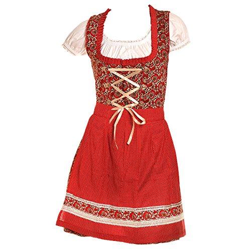 ch-home-desgin Dirndl minidirndl klederdrachtjurk rood met witte blouse set 3-delig maat 34 36 38