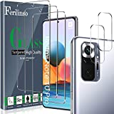 Ferilinso [5 Pack] 3 Piezas Protector de Pantalla para Xiaomi Redmi Note 10 Pro/Note 10 Pro MAX Cristal Templado + 2 Piezas Protector cámara Protector de Lente de Cámara [9H Dureza]
