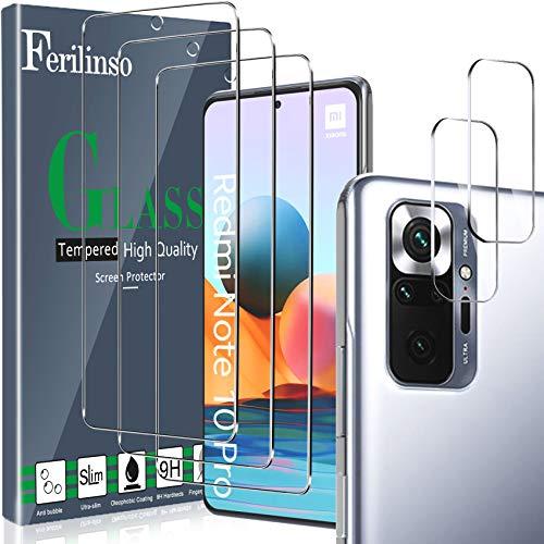 Ferilinso [5 Pièces] 3 Pièces Verre Trempé pour Xiaomi Redmi Note 10 Pro/Note 10 Pro Max Protection écran + 2 Pièces Protection Caméra Xiaomi Redmi Note 10 Pro/Note 10 Pro Max Caméra Arrière