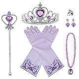 Vicloon Nuovi Costumi da Principessa Set di 7 Pezzi Dono da Tiara,Guanti,Bacchetta Magica, Anello, Orecchino,Collana da 3 a 9 Anni (Porpora)