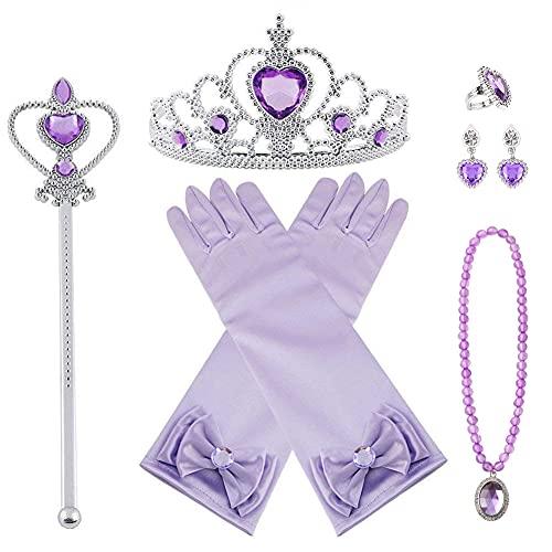 Vicloon Princesa Vestir Accesorios, 7 Pcs Violeta Elsa Princesa Accesorios de Disfraces, Regalo Conjunto de Belleza - Corona Anillo Sceptre Collar Pendientes Guantes para Niña