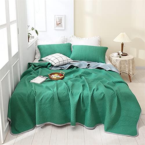 YYGQING Edredón de verano para aire acondicionado, lujoso, para siesta, habitación con aire acondicionado, cama doble, tamaño king, colcha de verano fresca (color: verde, tamaño: 100 x 150 cm)