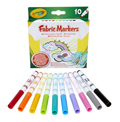 Crayola - 10 Feutres Fins pour Tissus - - 256353.012