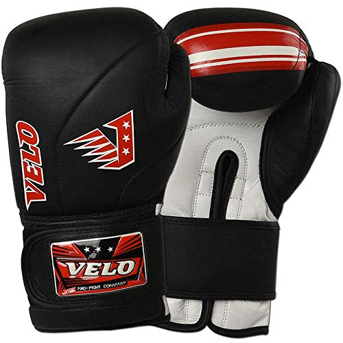 VELO Leder-Boxhandschuhe, Muay Thai, Training, professionelles Sparring, Boxsack, Kickboxen, Kämpfe, matt glänzend, schwarz (340 g)