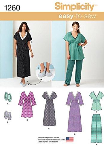 Simplicity 1260Größe A Schnittmuster Nachthemd in DREI Längen Schlafanzüge und Hausschuhe Schnittmuster
