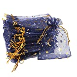 100 Pieces Moon Star Organza Jewelry Candy Bags, 2.7x3.5 Inch Sheer Navy Organza Favor Bags Gift Pouch with Drawstring for Wedding Party Valentine's Day