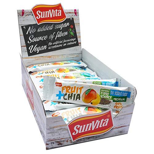 Sunvita Superfood Fruchtriegel mit Dattelbasis köstlicher Frucht-Riegel ohne Zuckerzusatz, 100% Natürlich - Vegan, 24er Pack (24 x 30g) (Tropical & Chia)