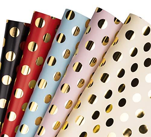 RUSPEPA Geschenkpapierblatt - Gold Dot Folie Design Für Geburtstag, Urlaub, Party, Babyparty, Glückwunsch, Wrap - 5 Blatt Verpackt Als 1 Rolle - 44,5 X 76 cm Pro Blatt