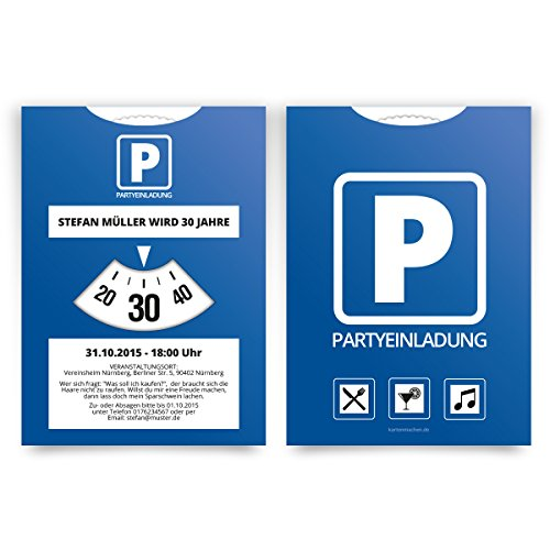 Einladungen (50 Stück) als Parkscheibe Geburtstag Einladungskarten mit eigenem Text
