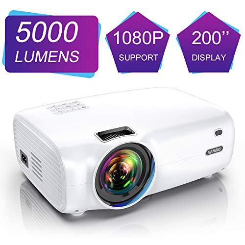 WiMiUS Videoproiettore, 5000 Lumen Mini Proiettore Portatile Nativa 1280*720P Suppoto 1080P Full HD LED Proiettore Con 200'' Display Multimedia Proiettore per Smartphone,PC con TV/AV/VGA/USB/HDMI