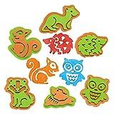 Baker Ross AX198 Waldtiere Stempel Bastelset für Kinder - 10 Stück, Kreative Künstler- und Bastelbedarf zum Basteln und Dekorieren in der Herbstzeit