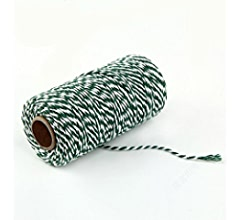 AKOAK Bakers Twine,1 Roll 109 Yards Cotton Twine Packing String for Gift Wrapping,Crafts and Decoration Brown+White