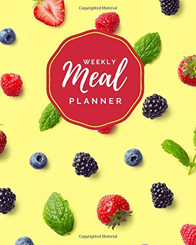 Weekly Meal Planner: Berries Fruit and Mint on Bright Yellow...