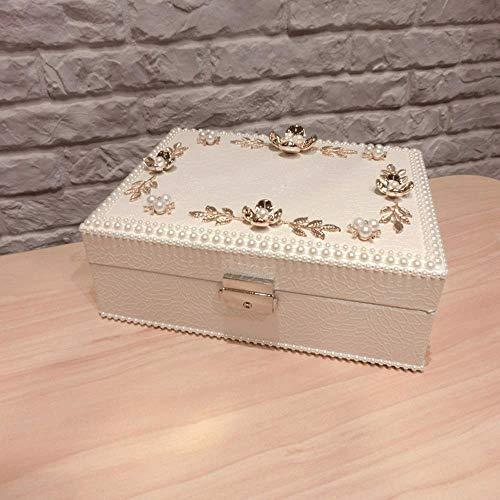 ZXT Joyero de Estilo Europeo Estilo Princesa Perla de Corte Coreana con Cerradura Caja de Almacenamiento de joyería Lin