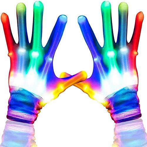 TTMOW LED Handschuhe Kinder Halloween Handschuhe Weihnacht Bunte Licht Handschuhe Beleuchtung Handschuhe Leuchtende Handschuhe für Kinder 6-12 Jahre alt