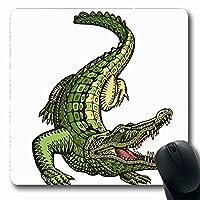 マウスパッド長方形7.9x9.8インチ華やかな装飾ヴィンテージクロコダイルワニドラゴン動物で描かれた手描き野生動物滑り止めゴムマウスパッドオフィスコンピュータラップトップゲームマット