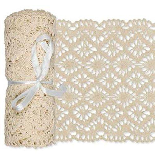 Häkelspitze aus Baumwolle Breite: 15 cm Länge: 180 cm Farbe creme