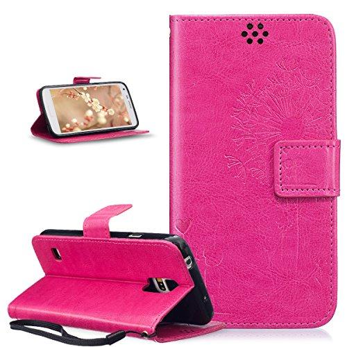 ikasus Coque Galaxy S5/S5 Neo Etui Gaufrage Amour amants pissenlit Housse Cuir PU Housse Etui Coque Portefeuille Protection supporter Flip Case Etui Housse Coque pour Galaxy S5/S5 Neo,Rose rouge