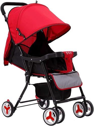 HKJCC Cochecito de bebé Cochecito de bebé Cochecito Plegable Ligero Cochecito de bebé reclinable,rojo