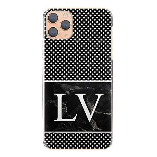 Personalisiert Initialen Harte Handy Hülle Für HTC One X10 (2017), Schwarz Marmor Aufdruck Mit Persönliche Weiß Monogramm und Diamant Gepunktet, Marmor Handy Cover