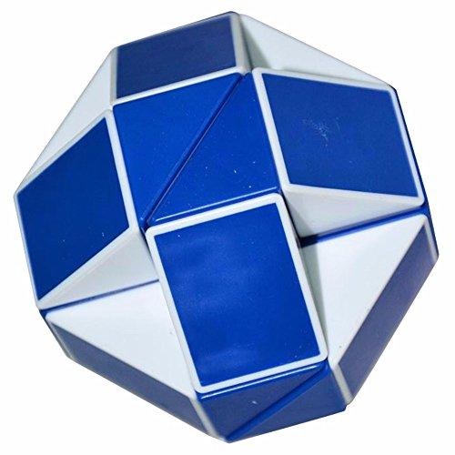 Coolzon Puzzle de Serpiente Mágica Snake Plegable Rompecabezas Tocer Cubo de 24 Secciones,Blanco(Azul)