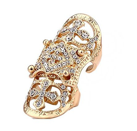 EVBEA Gothic Jewellery Antique Cocktail Statement Full Finger Rings for Womens The Crystal Ring Plated Gold
