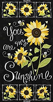 Timeless Treasures Fabrics You are My Sunshine Sunflowers and Bees Black 24  Sunflower Chalkboard P