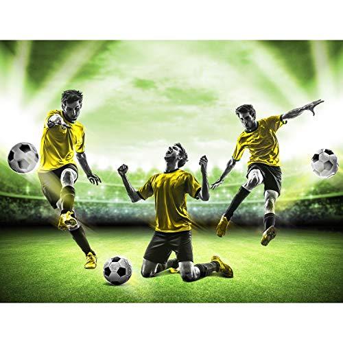Fototapete Fussball Stadion 352 x 250 cm Vlies Tapeten Wandtapete XXL Moderne Wanddeko Wohnzimmer Schlafzimmer Büro Flur Grün Gelb 9049011b