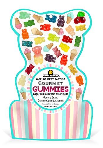 Happy Yummies Worlds Best Tasting Gourmet Gummy Candy Super Fun Ice Cream Assortment 14oz (6 Pack)