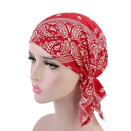 QCLU Mujeres Tie Turbante Sombrero Estilo Bohemio Jersey Top Nudo Turbante African Twist Headwrap Damas…