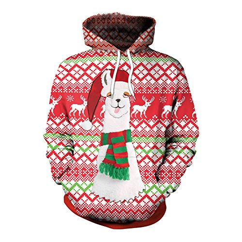 2020 Autumn and Winter New Christmas Clothing Pullover Hooded Sweater 3D Digital Printing Loose Baseball Uniform