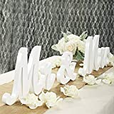 Lintimes Modernes Vintage-Stil Holzschild 'Mr & Mrs', rustikale Mr & Mrs'-Buchstaben, Hochzeitstisch, Foto-Requisiten, Partytisch, Abendessen, rustikale Hochzeitsdekorationen weiß