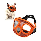 Doglay Short Snout Dog Muzzles - Adjustable Soft Breathable Mesh French Bulldog Mask with Eyehole Best to Prevent Biting,Chewing and Barking