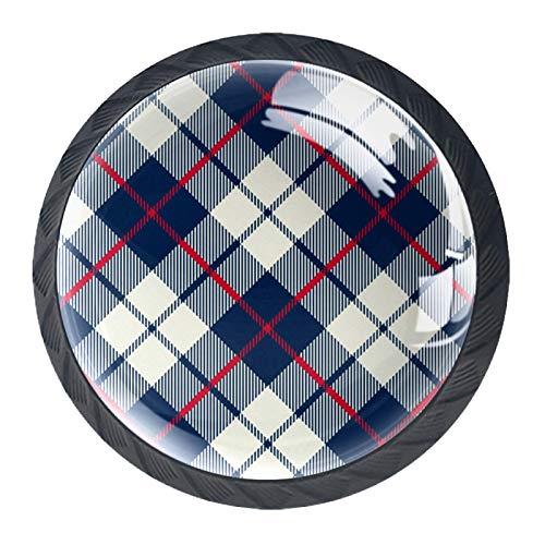 Tela escocesa azul Perillas de gabinete 4 pcs Round Knobs Knobs Tiradores de puerta de de con tornillos para la cocina de cajón de gabinete