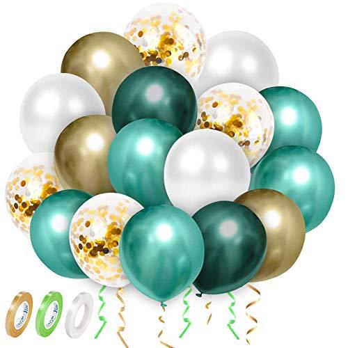 Luftballons Grün Weiß Gold Ballons, Metallischen Grüne Luftballons, Luftballons Girlande Hochzeit Deko, Konfetti Luftballons, Premiumqualität Latex Luftballons, 63 Stück Party Dekoration Set