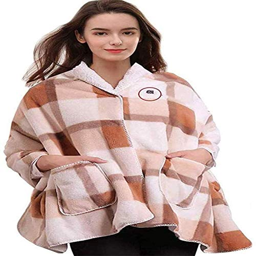 Mantón de manta eléctrica caliente, Tiro con calefacción Manta Mantante Wrap Wrap Poncho USB Recargable Pad Calefacción eléctrica para espalda y hombros Flannel Super Soft Manta Super Soft para el via