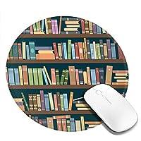 本でいっぱいの本棚 マウスパッド 丸型 20cm 滑り止め 防水 おしゃれ 洗える ビジネス用 家庭用 ゲーム用