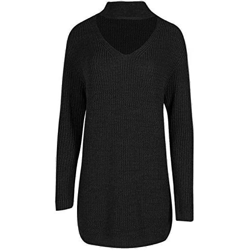 6da9623862bea5 Be Jealous Womens Long Sleeve Oversized Ribbed Jumper Chunky Knit Choker V  Neck Mini Dress UK