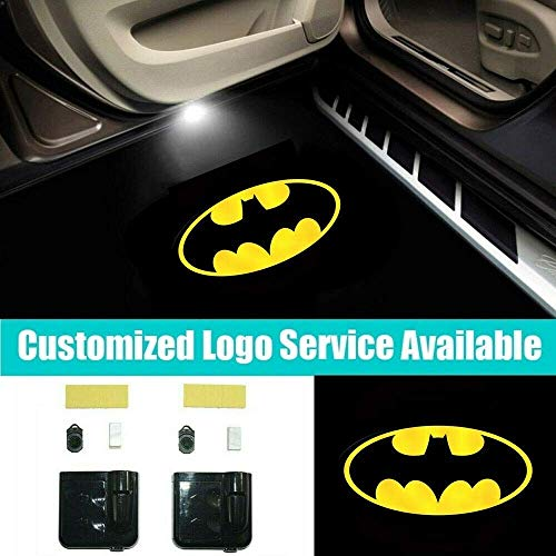 3D Wireless Magnetic BAT Car Door Step LED Welcome Logo Shadow Ghost Light Laser Projector Lamp(YELLOW BAT)