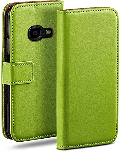 moex Klapphülle für Samsung Galaxy Xcover 4 Hülle klappbar, Handyhülle mit Kartenfach, 360 Grad Schutzhülle zum klappen, Flip Hülle Book Cover, Vegan Leder Handytasche, Grün