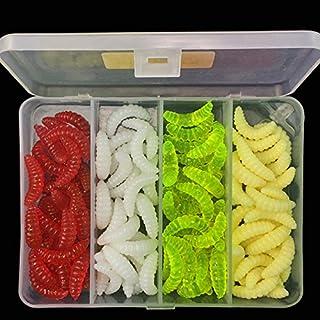 OriGlam - 100 cebos de pesca de agua dulce, gusanos de plástico suave, cebo suave para pesca de lubina, señuelos de pesca suaves, cebos de pesca de plástico, cebos de gusano