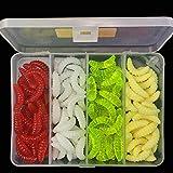 OriGlam 100 cebos de pesca de agua dulce, gusanos de plástico suave, gusanos de pesca de lubina, señuelo de pesca suave, señuelos de pesca suaves, cebo de plástico para gusanos
