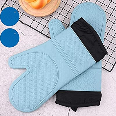 Arditto Extra Long Oven Mitts and Pot Holders Sets Heat Resistant Silicone Oven Mittens with Hot Pads Potholders for Kitchen Baking Cooking, Quilted Liner Light Blue